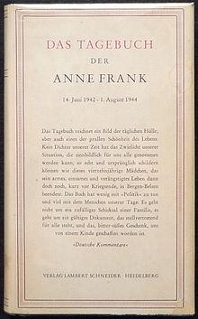Abbildung der deutschen Erstausgabe der Leseempfehlung 'Das Tagebuch der Anne Frank'